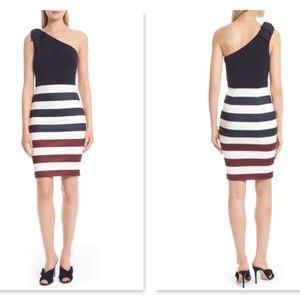Ted Baker Rowing Stripe One Shoulder Dress 14US